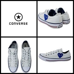 Converse low top shoes, size 8, color red/white/bl